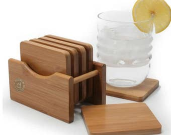Deco Life eco-friendly bamboo coaster set with holder