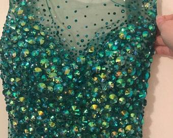 Jovani Emerald Sleeveless Sequined Prom Dress