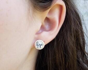 Handmade, Handlettered Hope Earrings