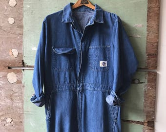 RESERVED 1950's Large Sanforized Blue Top Denim Coveralls
