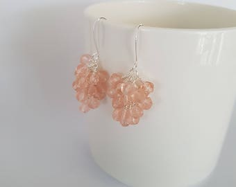 Light pink, glass beads, wire wrapped, silver plated cluster earrings.