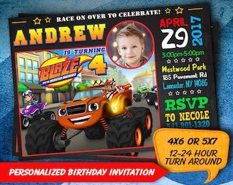 Blaze and the Monster Machines Invitation, Personalized, Monster Truck Blaze and the Monster Machines Birthday , Blaze Invitation, Digital