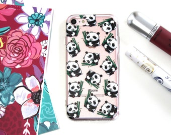 iPhone 7 Soft Silicone Cute Panda Cell Phone Case, Happy Panda iPhone 7 Case, Birthday Gift For Wife, Gifts Under 20 For Her, Sweet 16 Gift