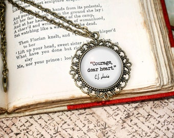 Narnia Necklace, 'Courage, dear heart,' CS Lewis, The Lion, The Witch and the Wardrobe, Aslan Lucy Mr Tumnus Quote Literary Jewelry