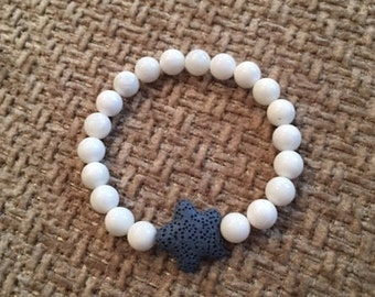 8mm White Beads; Beaded Stretchy Bracelet; Essential Oil Bracelet; Starfish
