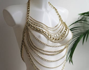 Gold Chain Halter Top