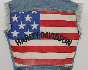 Vintage Harley-Davidson American Flag Denim Vest