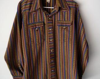 50s Tru-West Rockmount Ranch Wear Pearl Snap Long Sleeve Shirt // Men's L/XL