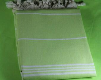 Green Cotton Beach Towel, Turkish Cotton Peshtemal, Natural Cotton Beach Towel, Green Hammam Towel, Turkish Bath Towel