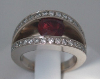 Ring white gold with rubies and diamonds / White gold ring with Ruby and diamonds