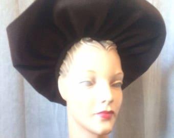 1940s Brown Wide Brim Halo Hat