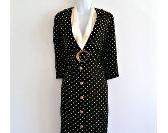 Vintage Polka Dot Belted Dress 70s Black and White Midi - Size M / 12, 1970s Mididress, Avant Garde Mid Length, Button Buttons, Crescent