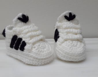 Crochet baby sneakers adidas Superstar shoes white