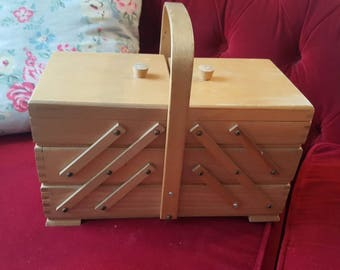 Vintage cantilever wooden sewing box, 1960s
