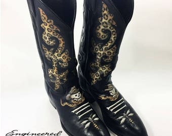 Hand-Painted Cowboy Boots - Skull with Rattlesnake & Leopard Print - US Mens Size 9.5