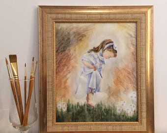 Watercolour painting, art / Carefree little girl