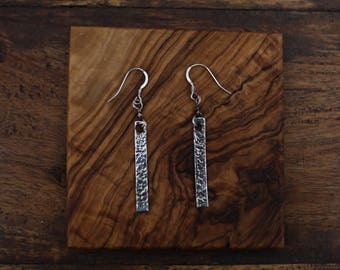 Silver Hammered Hanging Drop Earrings