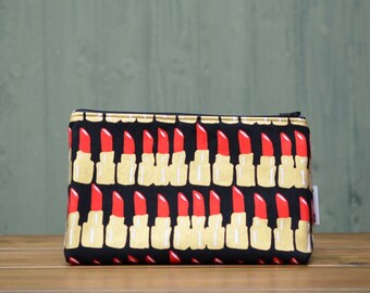 Handmade black, red and gold lipstick print zippered make up / toiletries / cosmetics / wash bag pouch, fully lined