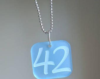 42 Pendant - The Answer to the Question of Life, the Universe, and Everything, laser engraved