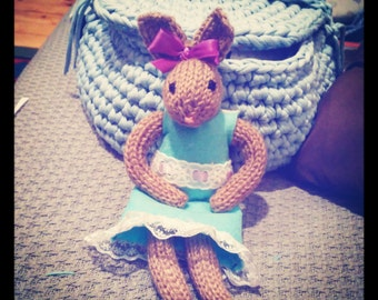 Hand knitted bunny with felt dress