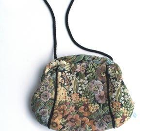 90s Floral Tapestry Hand Bag Purse Vintage