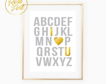 ABC I Love You Nursery Art Print with Real Foil