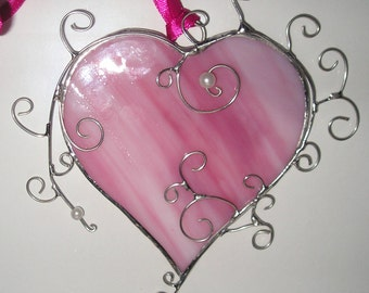 Pink Love Heart, Stained Glass Suncatcher, Handmade in England