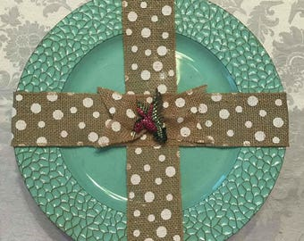 Burlap Charger Cross - Hummingbird with Polka Dot Burlap