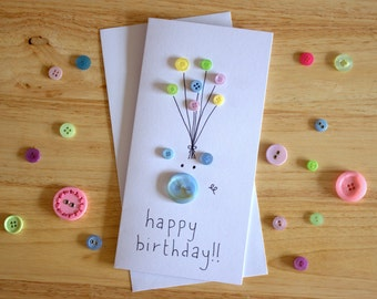 Pig Button Birthday Card
