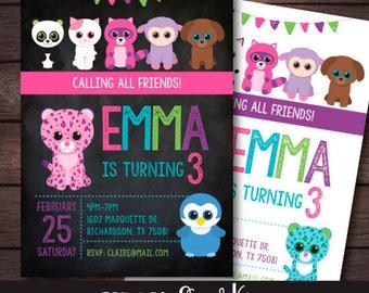 Beanie Boo Invitation, Beanie Boo Birthday Party, Printable Invitation, DIGITAL
