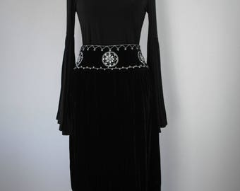 1990s Beaded & Embroidered Velvet Maxi Skirt // Witchy Maxi Skirt // Vintage Velvet Skirt // Black Maxi Skirt // Witchy Clothing