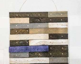"""SHIPPED Redemption House  - 15"""" x 15"""" Wall Hanging Lath Board Art - Gray Tones with BLUE accent"""