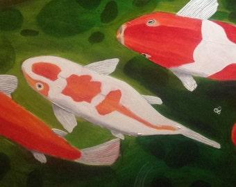 Koi pond , large canvas, 3ft x4ft.