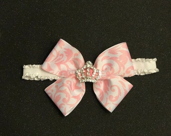 Rhinestone crown bow headband