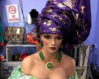 Gorgeous headscarf, earrings and necklace for stunning outing