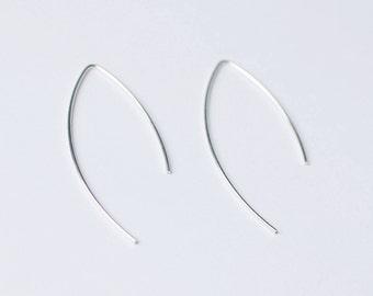 Sale- Sterling Silver Ear wire, Hoop Earrings, Silver Earrings, Simple Earrings, Minimalist Earrings, open hoop earrings