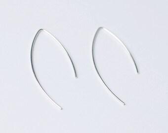 Sterling Silver Ear wire, Hoop Earrings, Silver Earrings, Simple Earrings, Minimalist Earrings, open hoop earrings