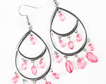 NEW Sterling Silver Colored Faceted Paparazzi Pink Crystal Beads Dangle Hook Earrings