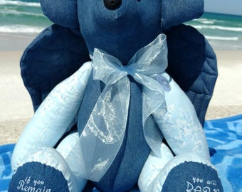 Large Scripture Bear, denim and cotton, movable arms and legs, Bible verse Remain in Me