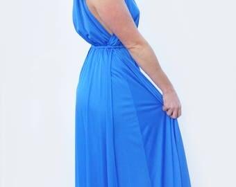 CERULEAN DISCO - Blue 1970s Vintage Grecian Goddess Maxi Dress with Plunging Deep-V Neckline