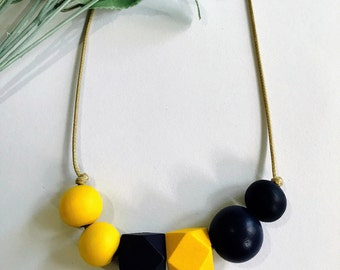 Yellow navy handpainted wooden bead necklace