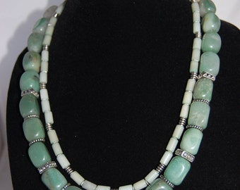Green Aventurine necklace, beaded, multi-stranded necklace