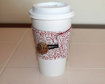 Red and White Reusable Coffee Sleeve with Gold Button