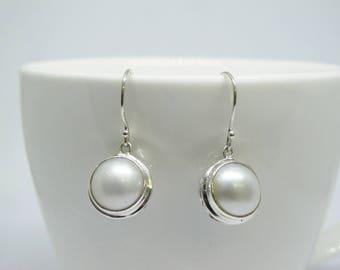 11*12 mm mabe pearl earrings, 925 sterling silver earrings, round pearl earrings, ball earrings, sea pearl