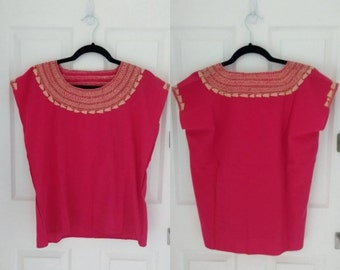 Mexican Hand Embroidered Blouse (Fuchsia)