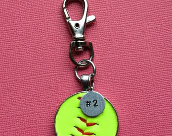 Real Softball Keychain with Personalized Number