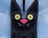 Folk Art Kitty Cat Plush Felt Ornament - Dark Grey and Black - Felt Cat Ornament - Holiday Cat Christmas Ornament