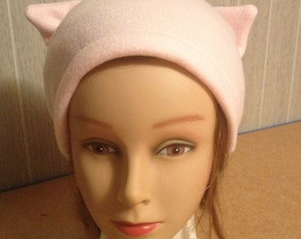 Pale Pink FLEECE PussyHat Cat beanie Women's March PUSSY HAT Kitty Ears Knit 1 Size-- Free 1st Class Shipping & Charity Donation