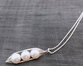 Pea pod necklace. Three snow peas in a pod with white freshwater pearls. Jewelry, gift for mom, sister, or best friend, triplet jewelry