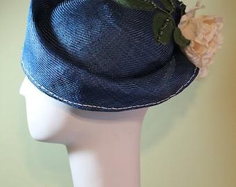Blue Women's Straw Cloche Hat with Flower - Spring Summer Straw Women's Hat - Women's Derby Ascot Hat - OOAK